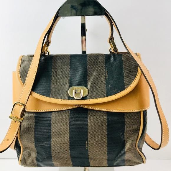 Fendi Handbags - Authentic Fendi Vintage Signature Stripe 2-Way Bag bafc0e12e7d9f